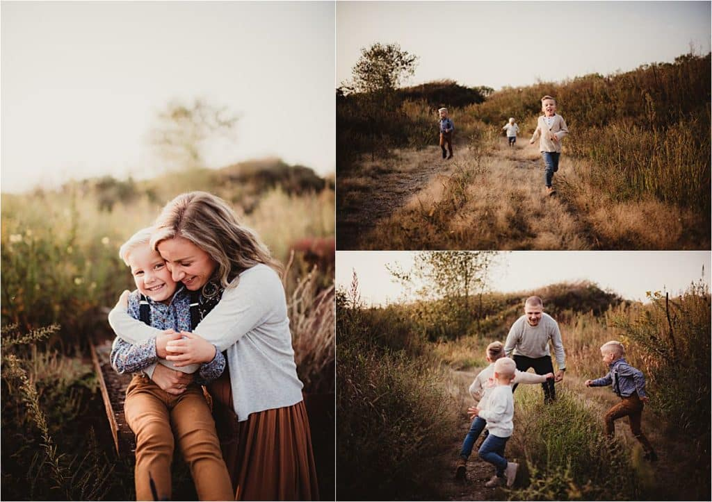 Family Maternity Session Collage Family in Field