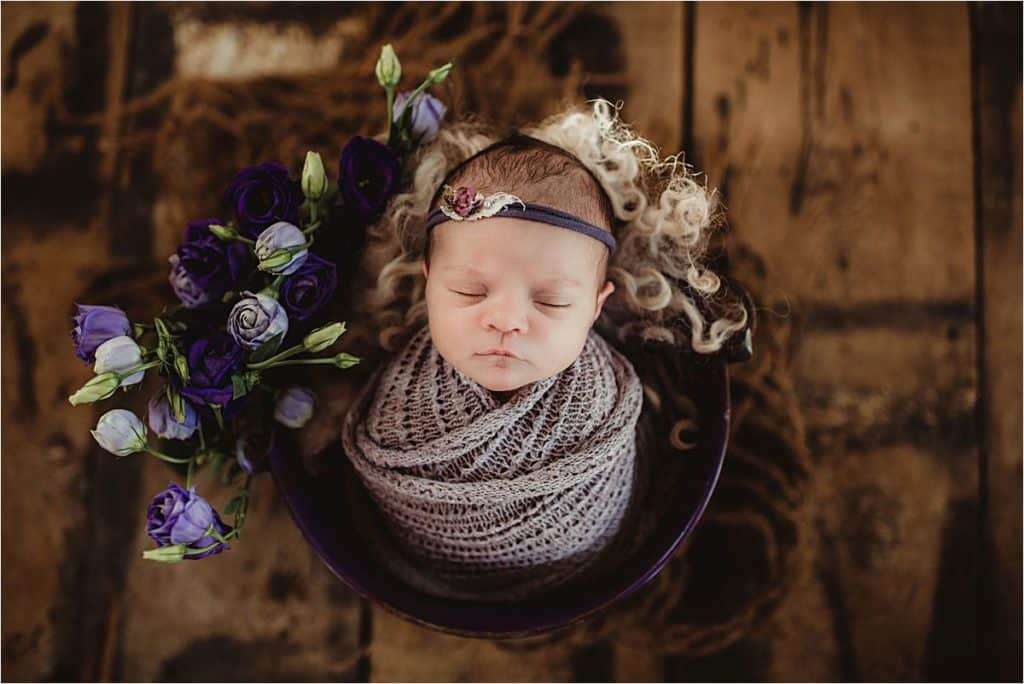 Studio Newborn Photography Session Girl in Purple