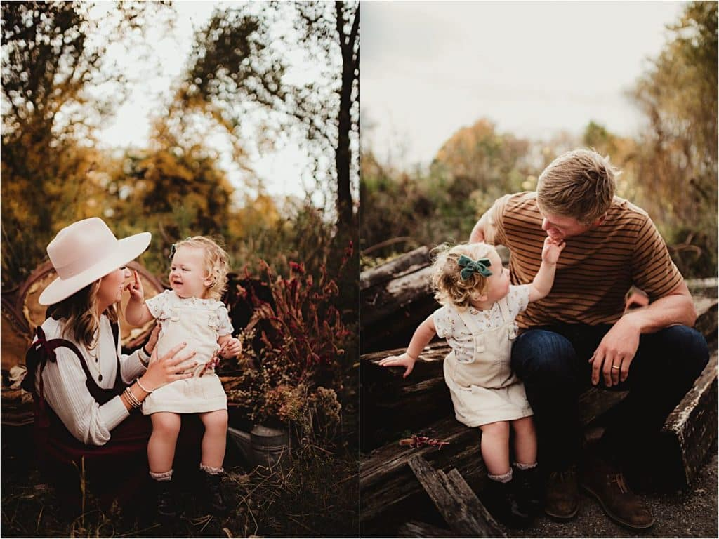 Boho Outdoor Family Session Little Girl with Parents
