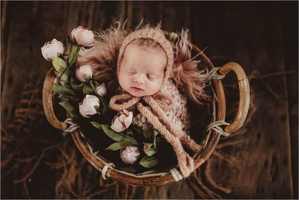 Newborn Girl Photography Session Girl in Blush