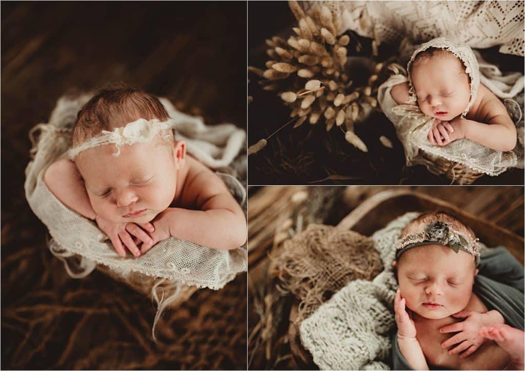 Newborn Girl Photography Session Newborn in Neutrals