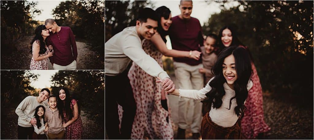 California Family Session Collage Family Hugging