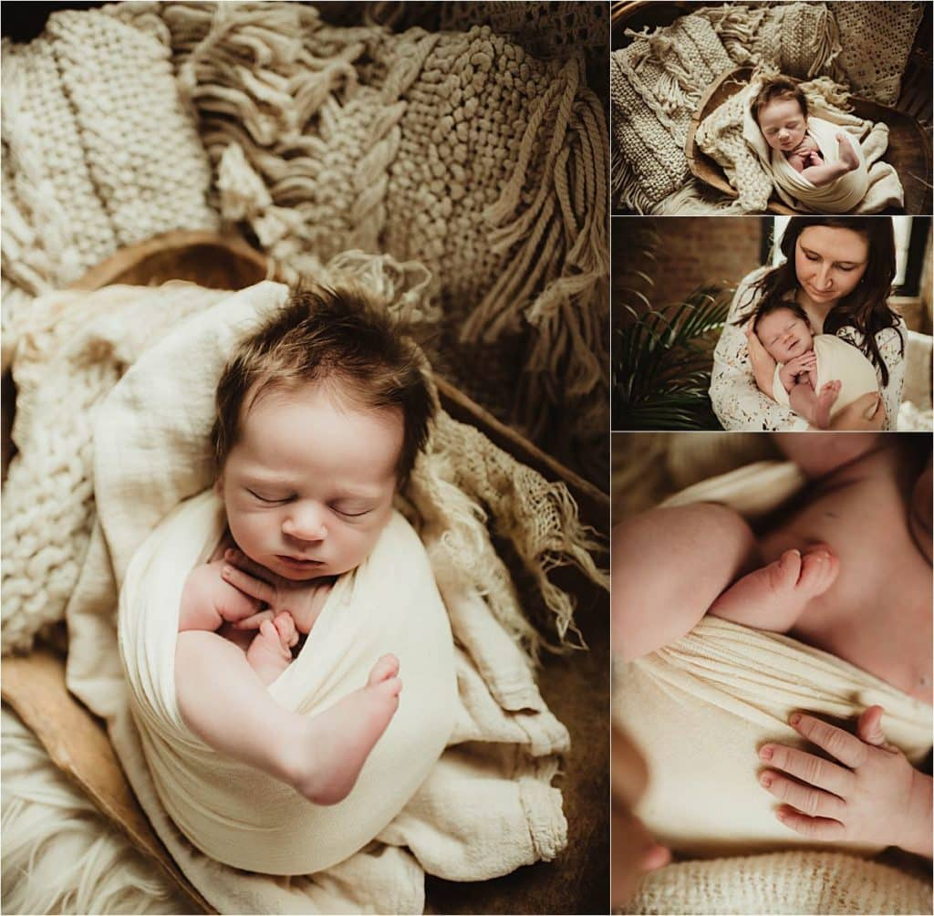 Newborn Boy Photography Session Collage Newborn Details