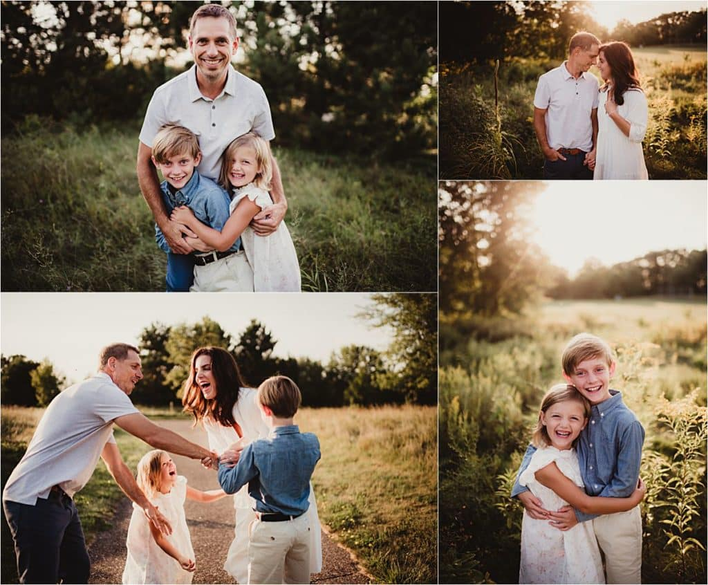 Muted Color Palette Family Session Collage Family in Field