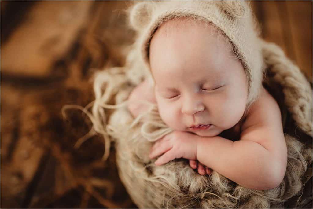 Studio Newborn Photography Close Up Newborn Bear Hat
