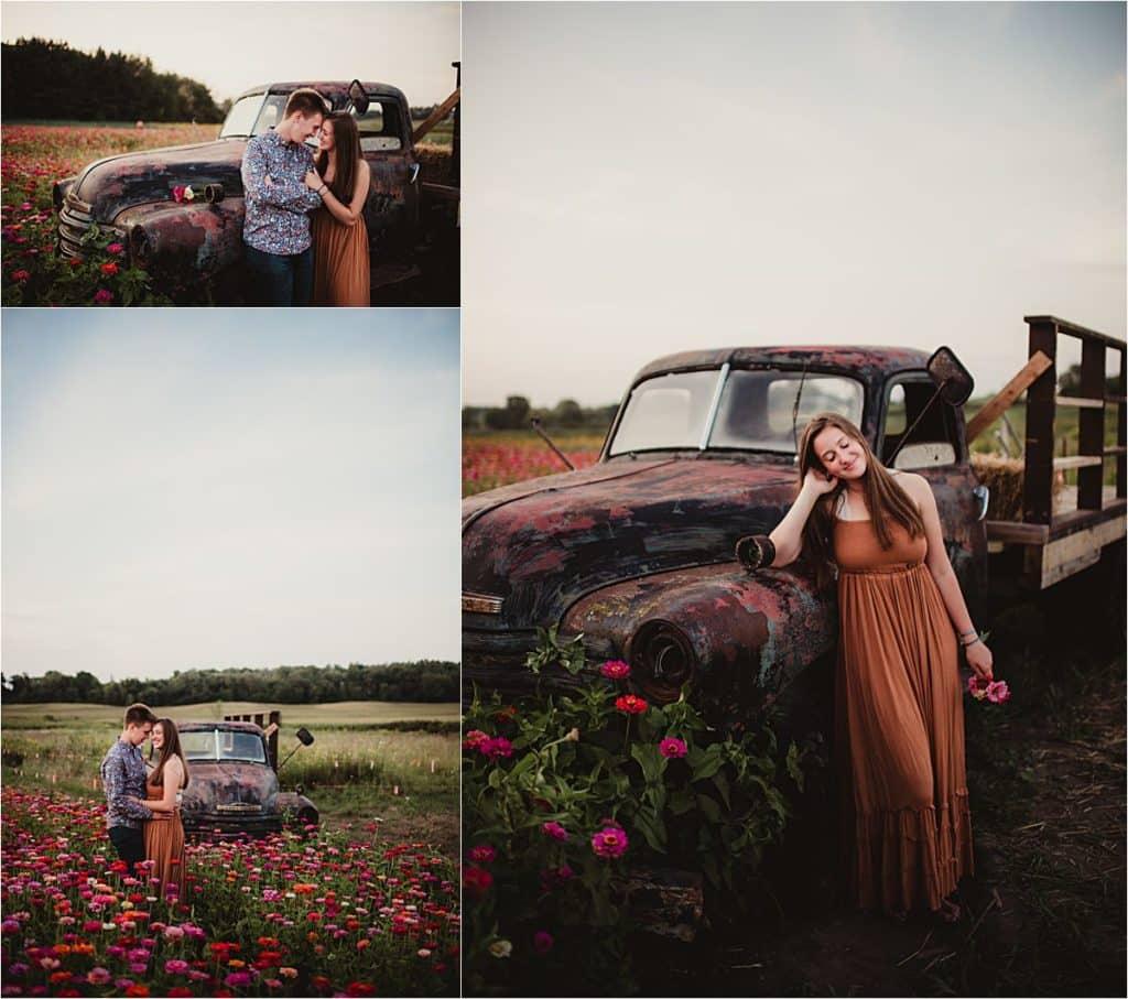 Summer Wildflower Portrait Session Couple in Flower Field