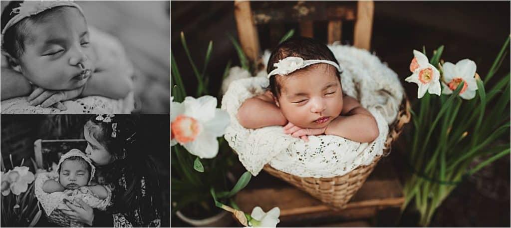 Newborn Girl with Daffodils