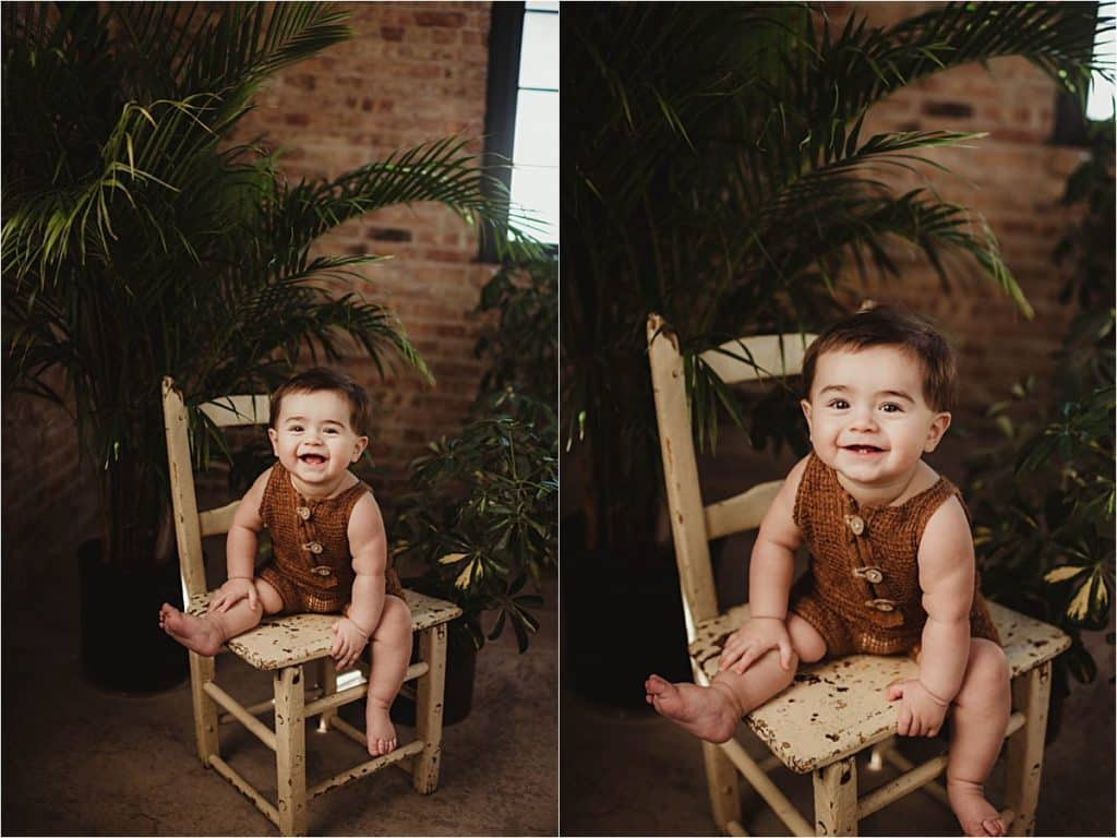 Milestone Portrait Photography Session Smiling Baby Boy on Chair