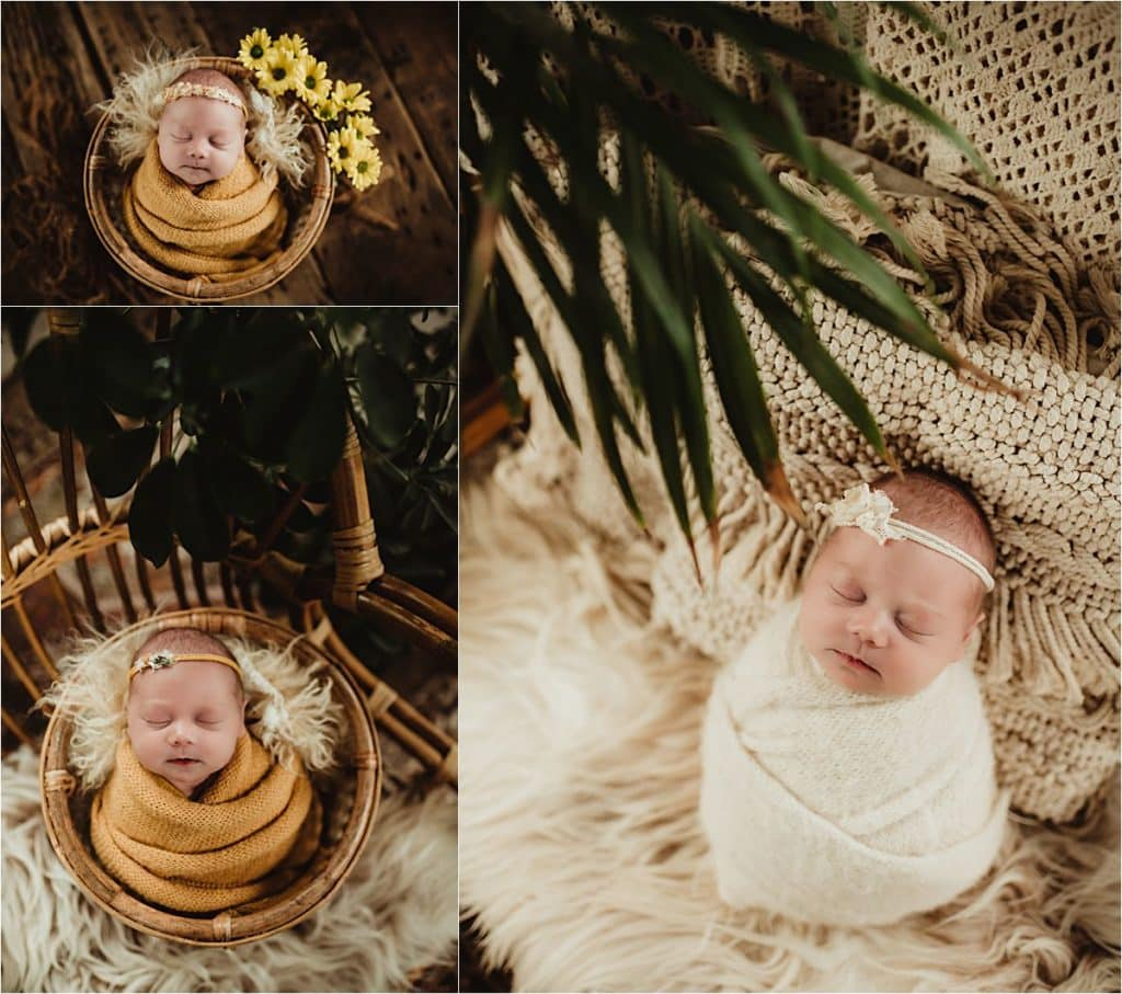 Newborn Portrait Session Girl with Flowers