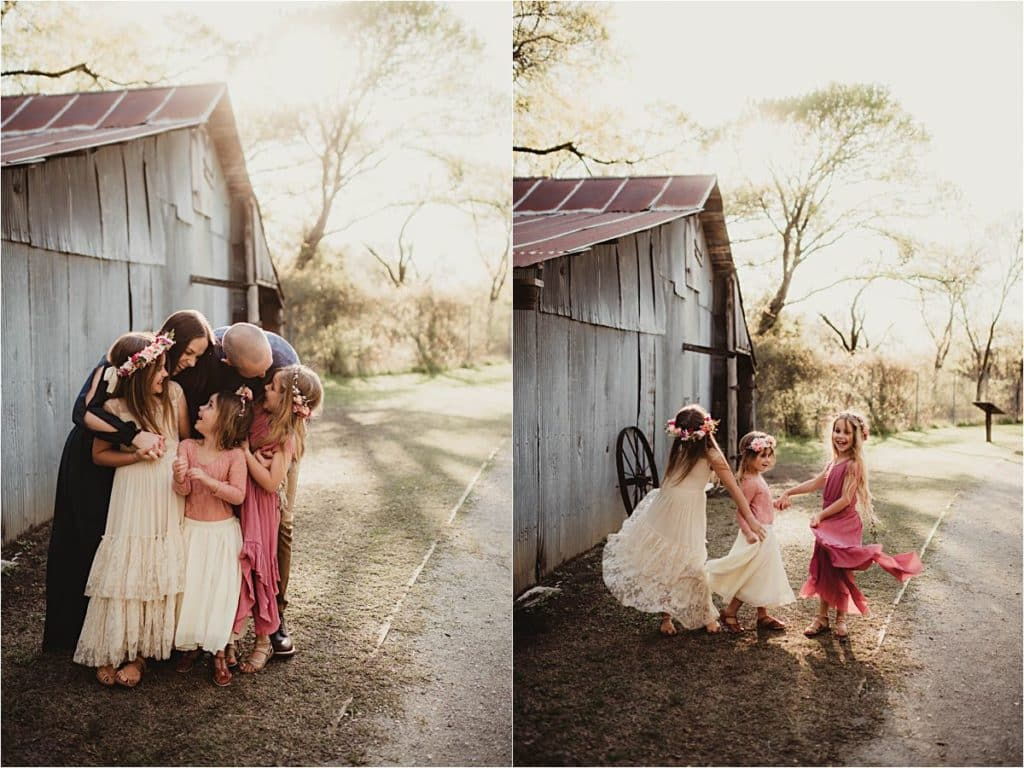 Floral Family Session Family Hugging and Twirling