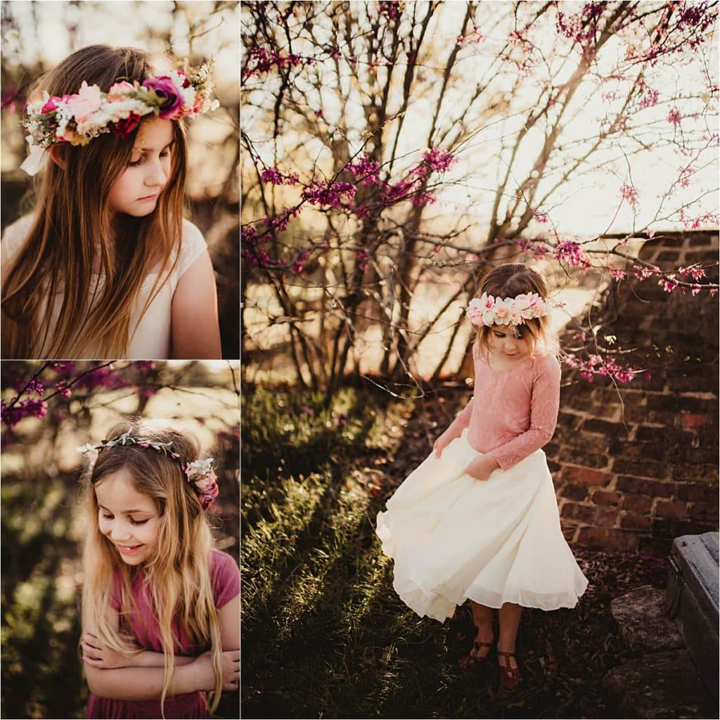 Floral Family Session Close Ups Little Girls