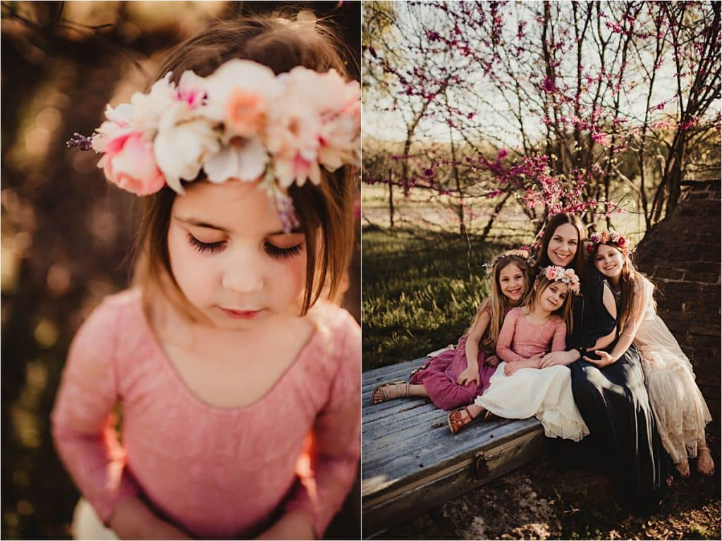 Floral Family Session Daughters with Mom