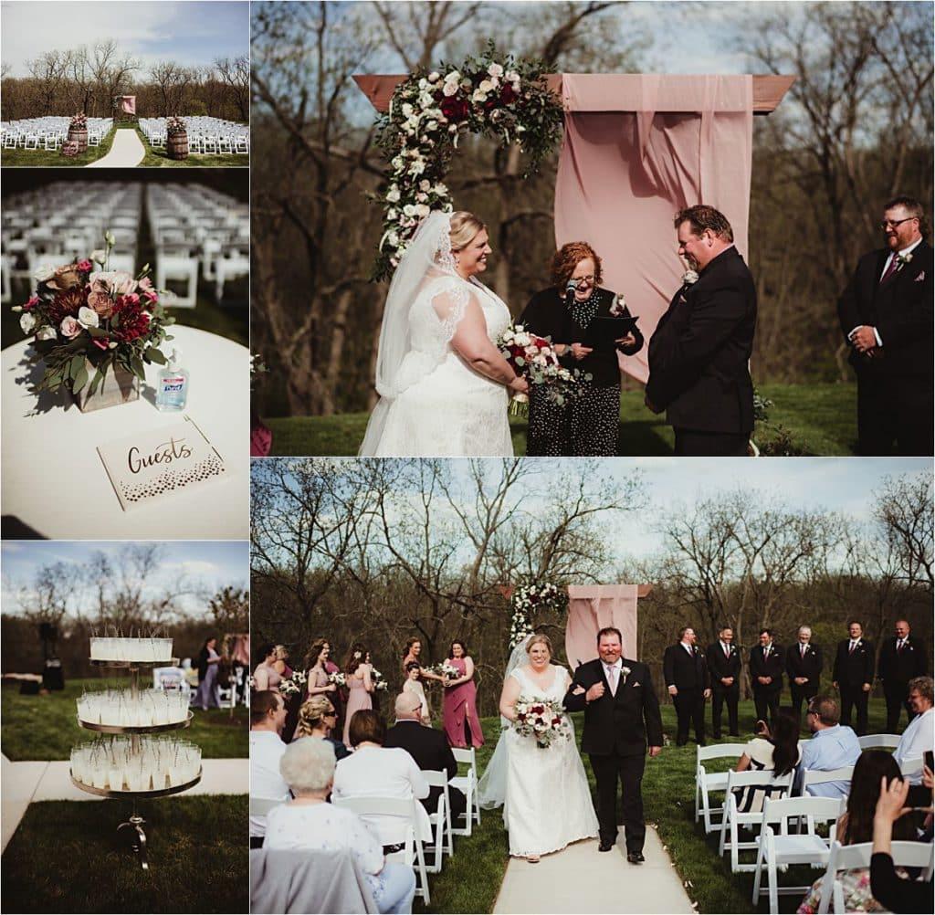 Cranberry Mauve and Blush Wedding Outdoor Ceremony