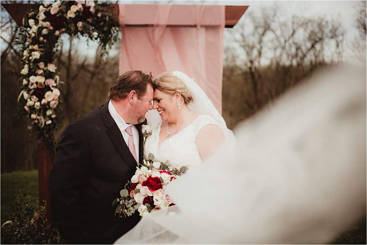 Bride Groom Touching Foreheads
