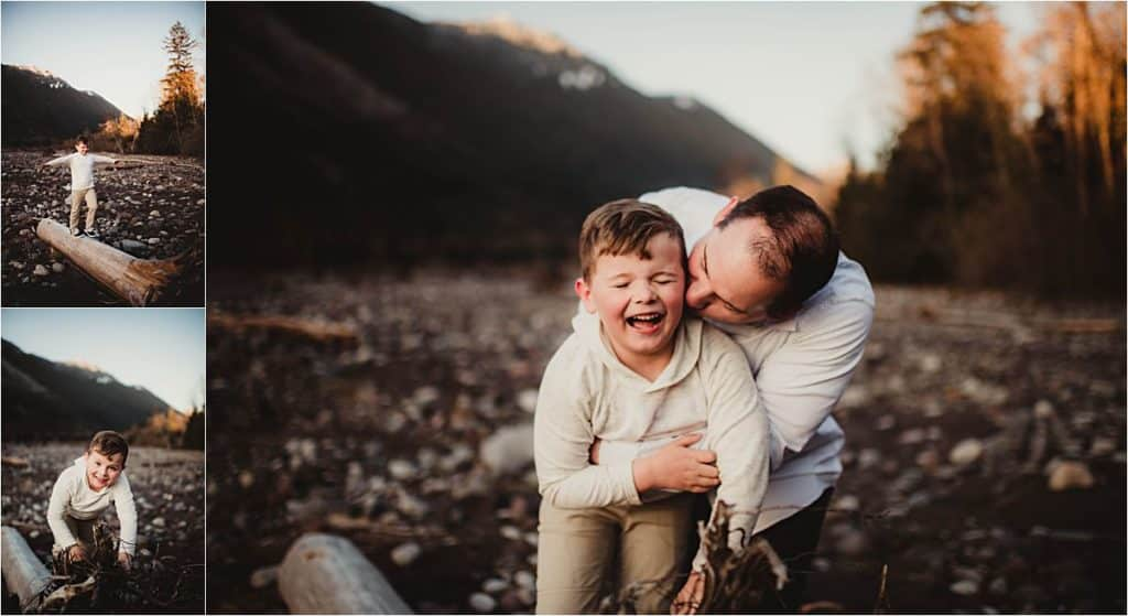 Picturesque Mountain Family Session Dad with Son