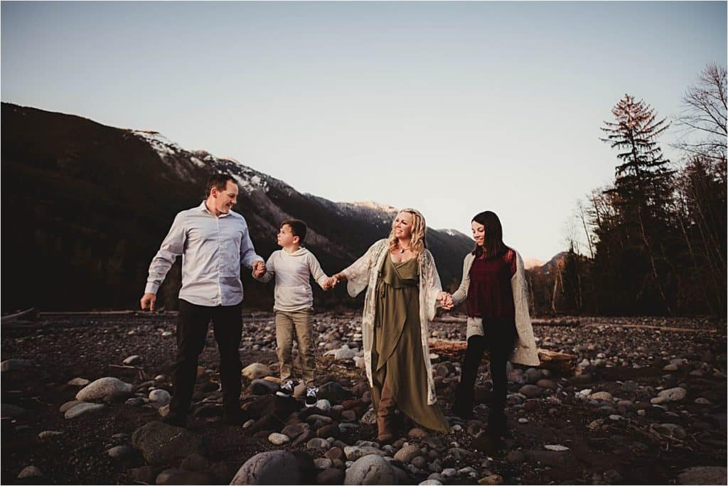 Picturesque Mountain Family Session Family Holding Hands