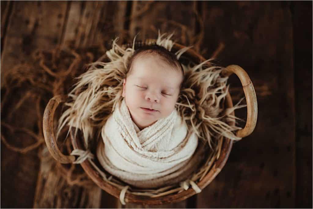 Rustic Neutral Newborn Session Boy in Basket