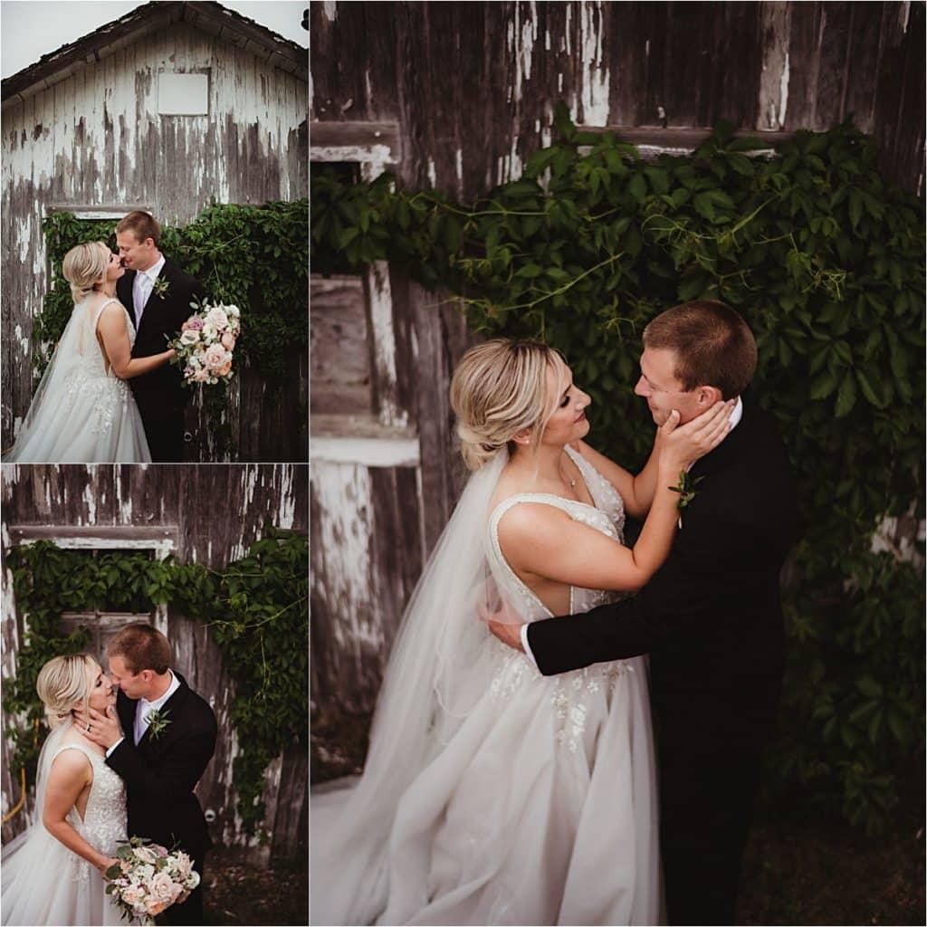 Bride Groom by Barn