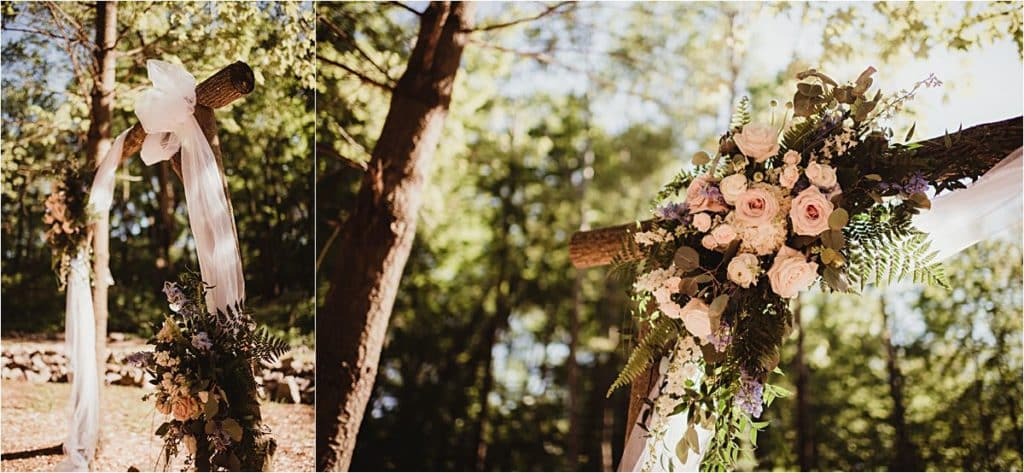 Elegant and Rustic Wedding Arch Floral Detail
