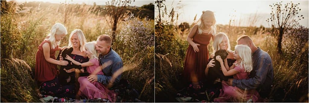 Family Sunset Portrait Session With Dog