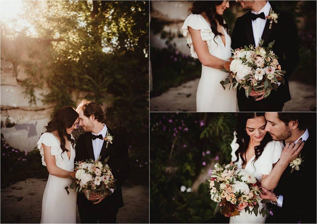 Blush and Terracotta Palette Wedding Bride Groom Snuggling