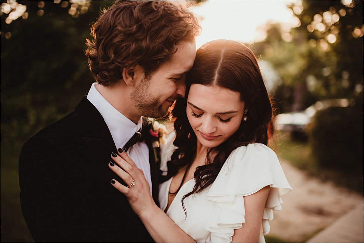 Close Up Bride Groom Touching Foreheads