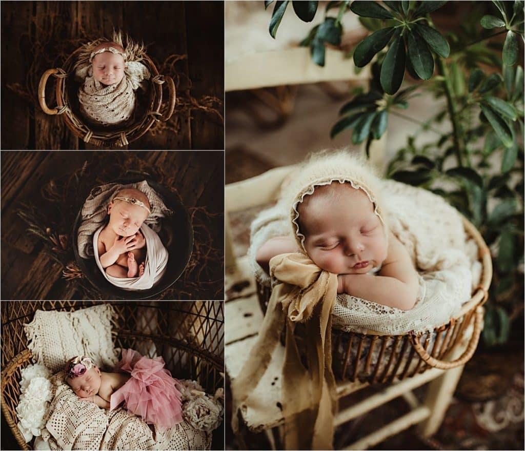 Studio Newborn Portrait Session Collage Newborn Girl in Wraps