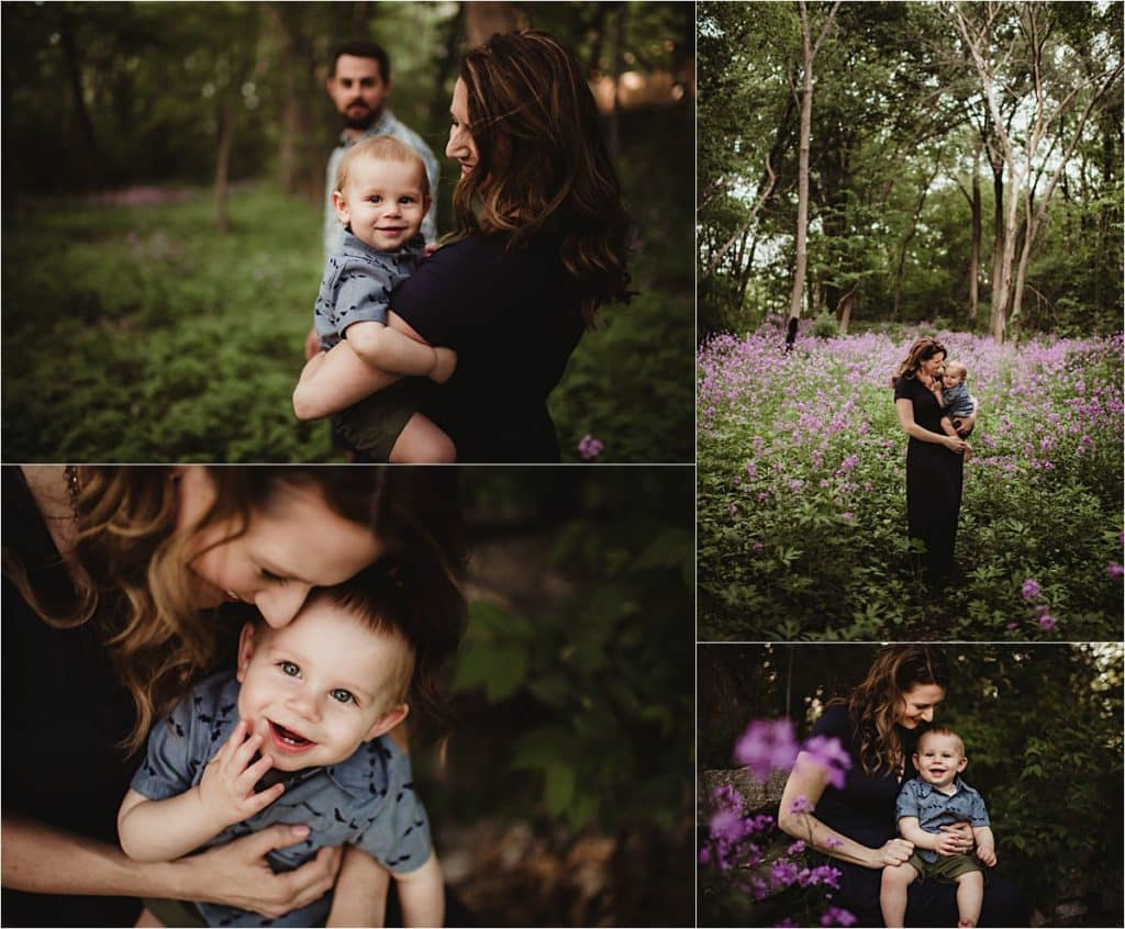 Flower Field Session Collage Family in Purple Flowers