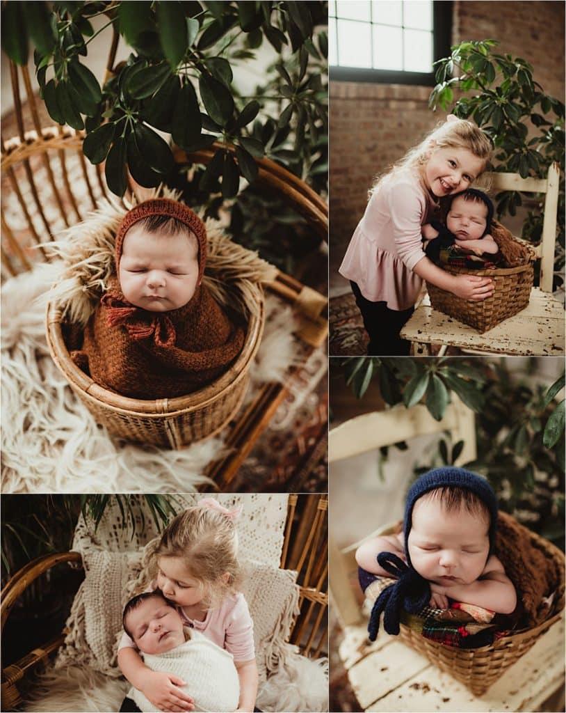 Newborn Boy Portrait Session Collage Boy in Wraps
