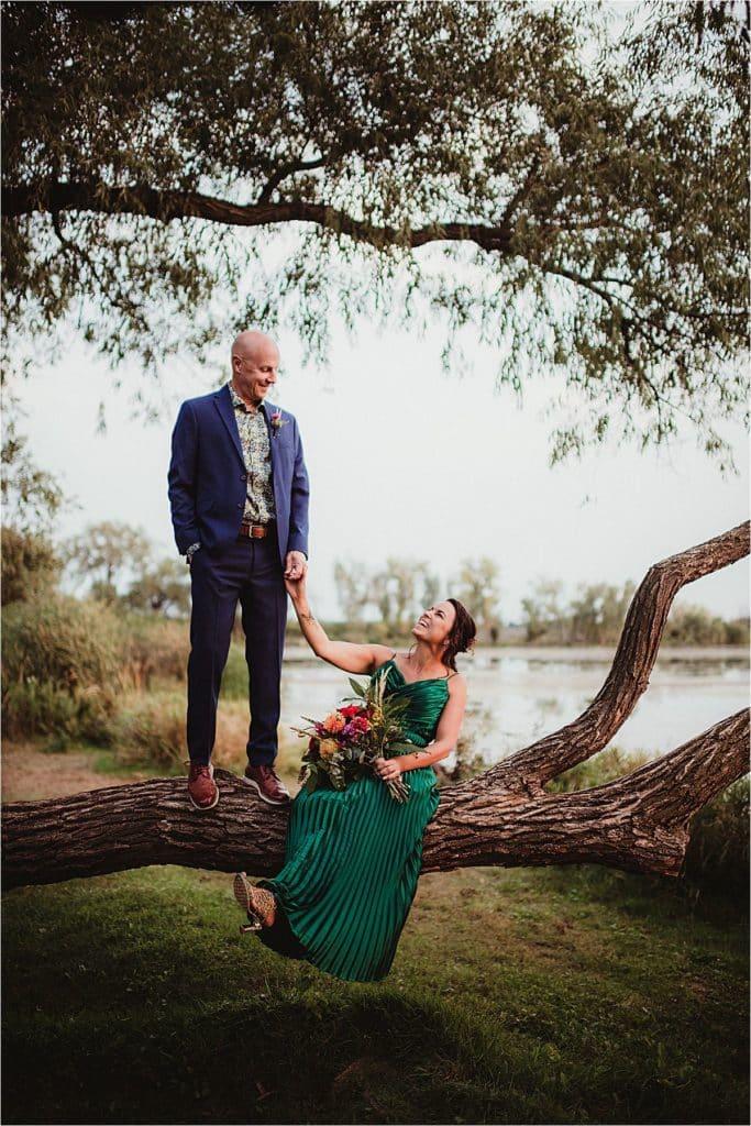 Playful Wedding Portrait Couple in Tree