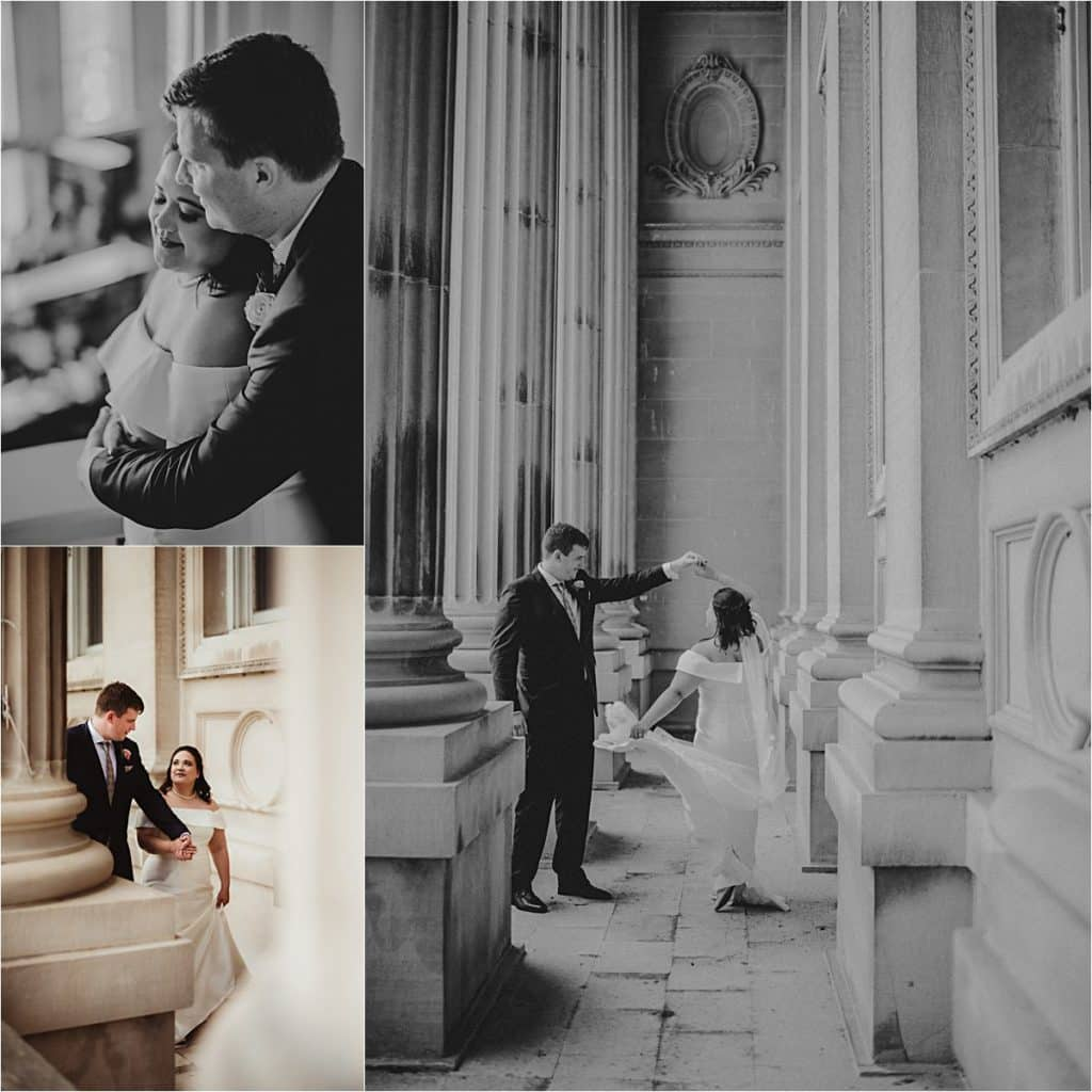 Elegant Outdoor Wedding Collage Couple at Capitol