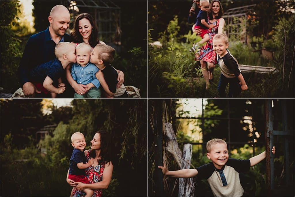 Spring Outdoor Family Session Collage Parents Three Sons