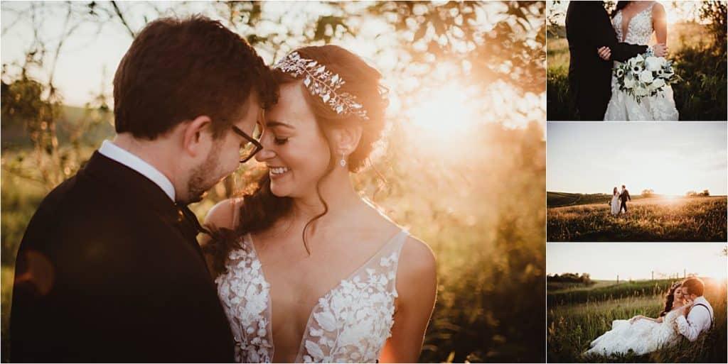 Close Up Bride Groom Sunset
