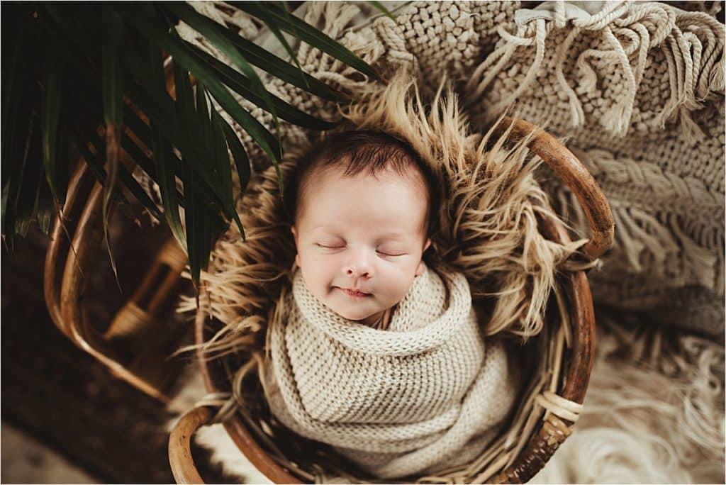 Newborn Portrait Studio Session Boy Smiling