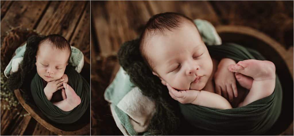 Newborn Boy in Green