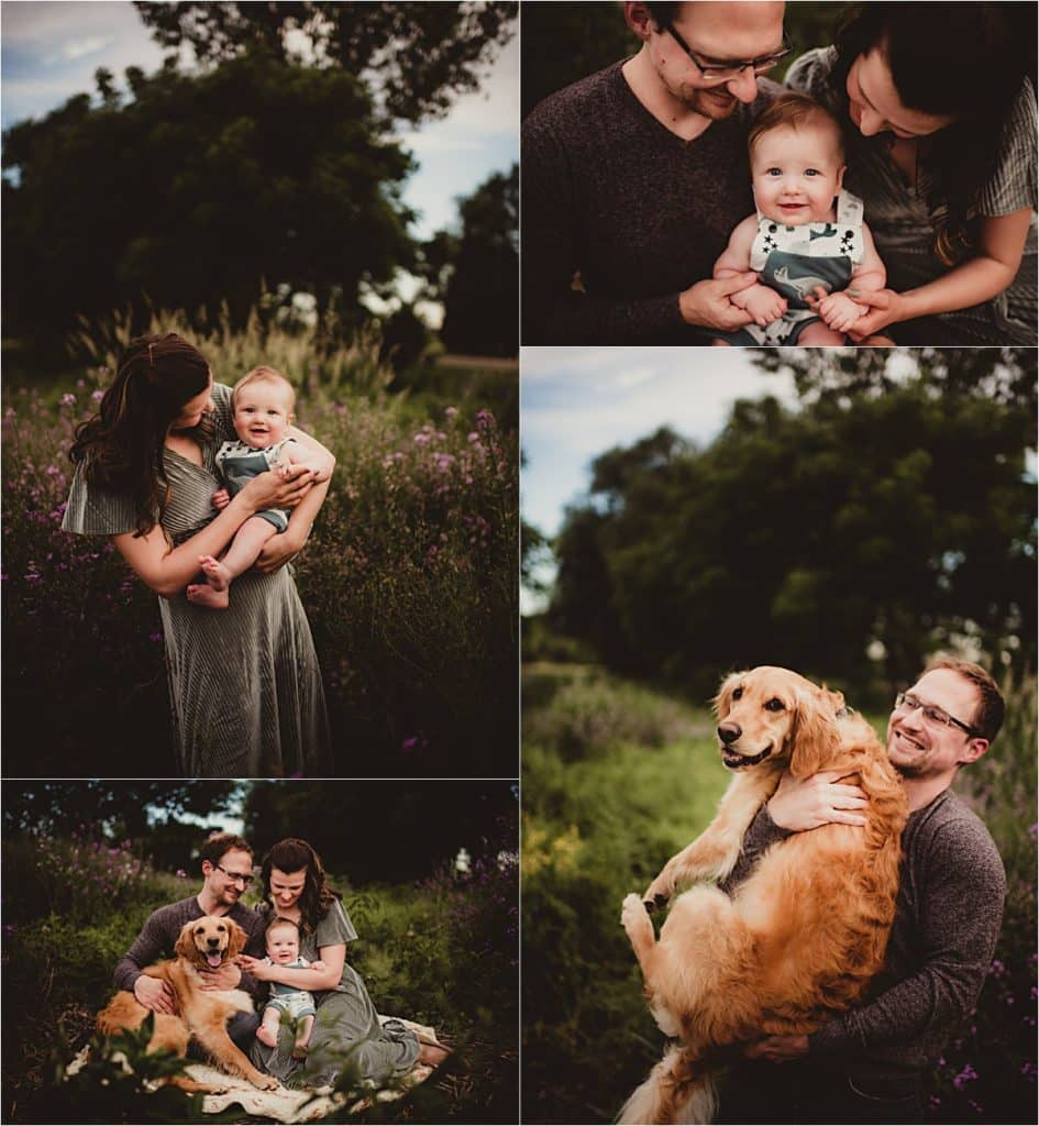Wildflower Session Collage Family with Dog