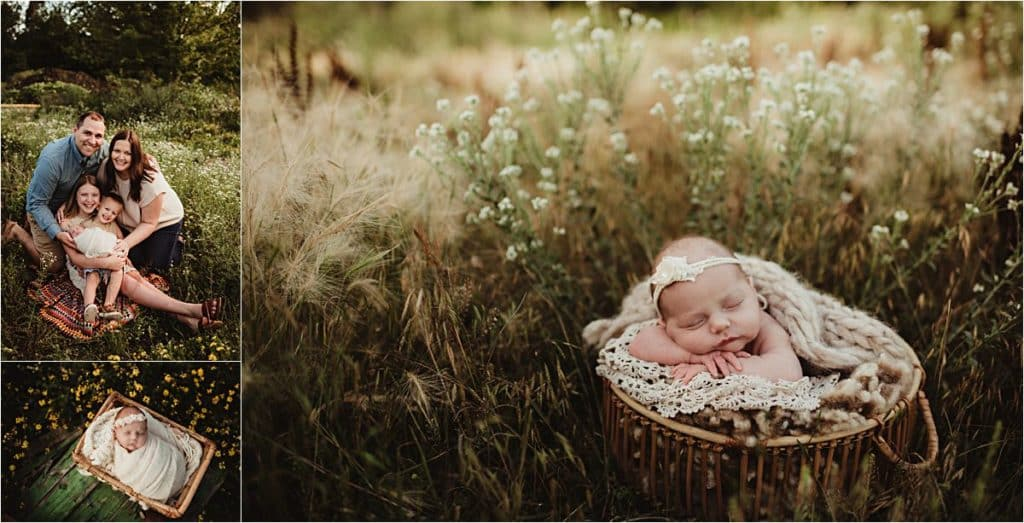 Newborn Girl with Family in Flowers