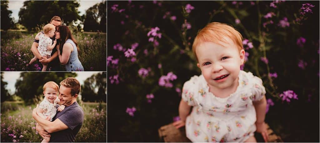 Summer Blooms Family Session Collage Family in Purple Flowers