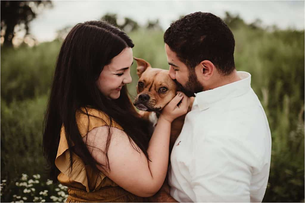 Summer Engagement Portrait Session Couple with Dog