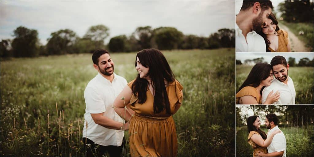Summer Engagement Portrait Session Couple Snuggling in Field
