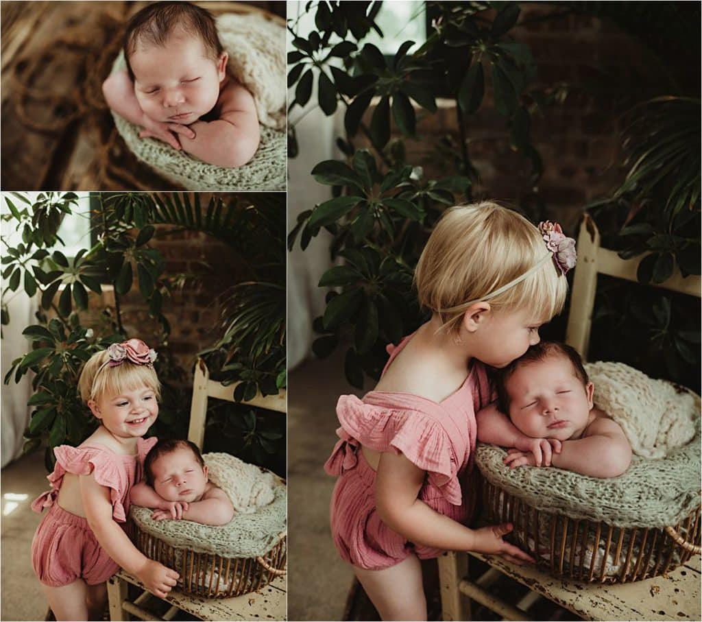 June Newborn Session Collage Newborn with Sister