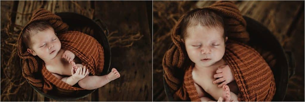 Newborn in Rust Colored Wrap