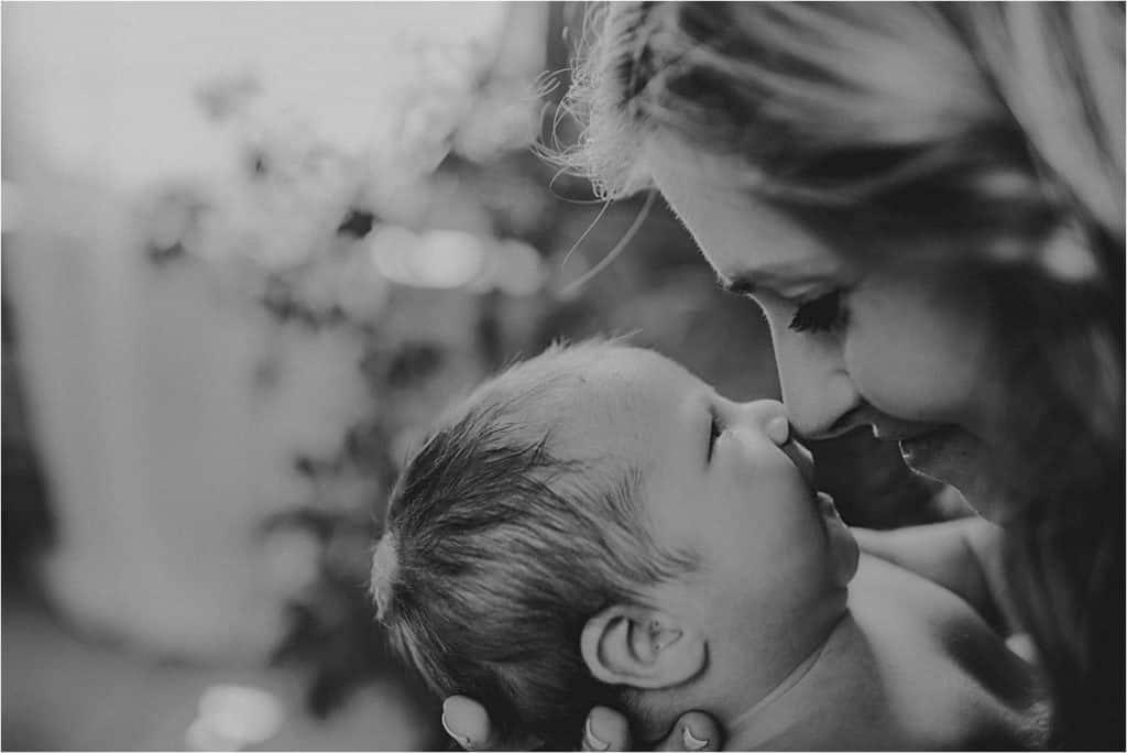 June Newborn Session Mama and Newborn Touching Noses