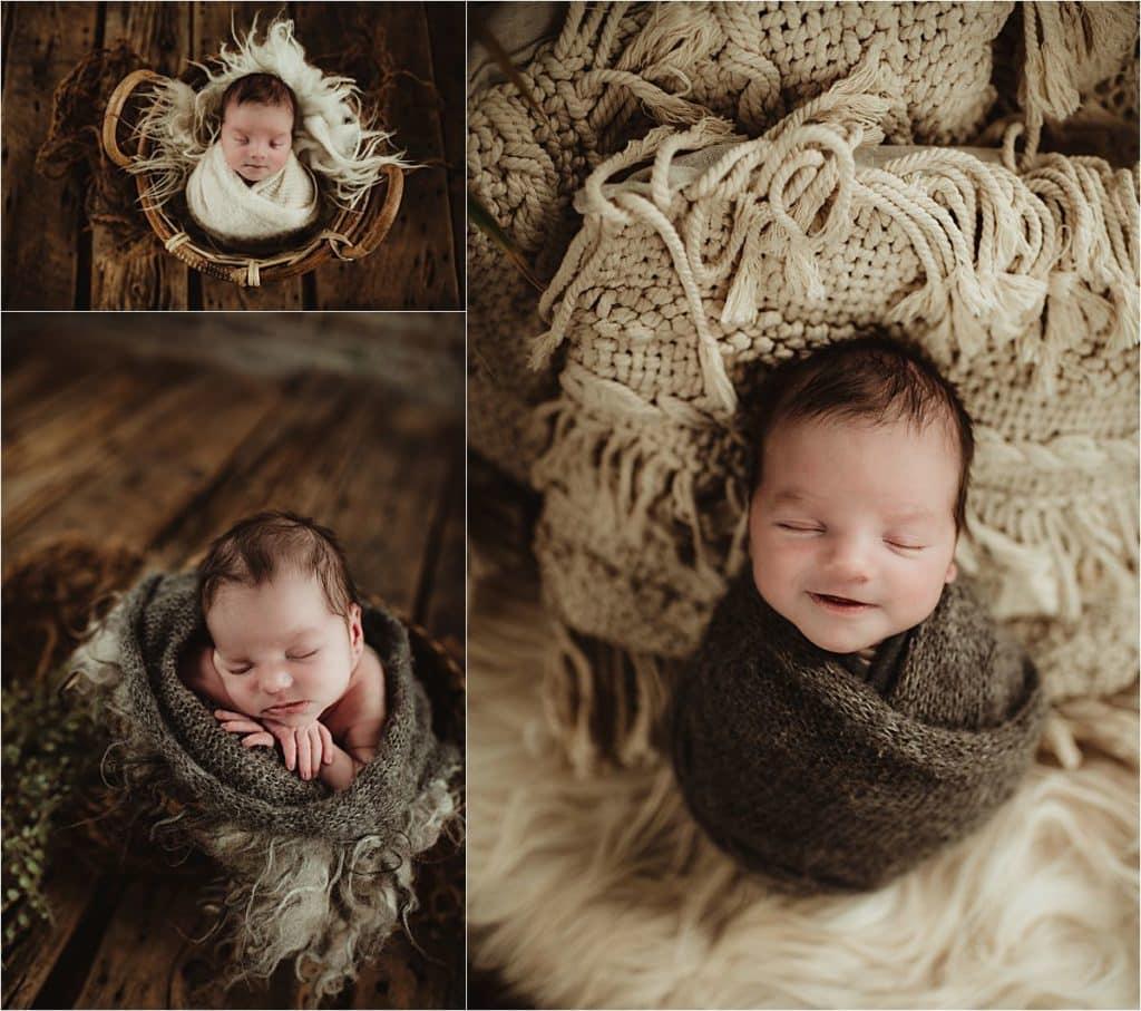 Summer Newborn Studio Session Collage Newborn Boy