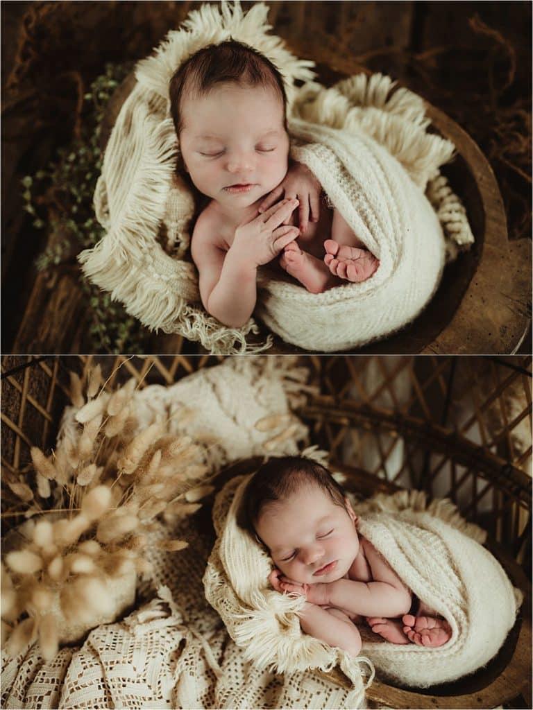 Newborn Boy in Cream Wrap