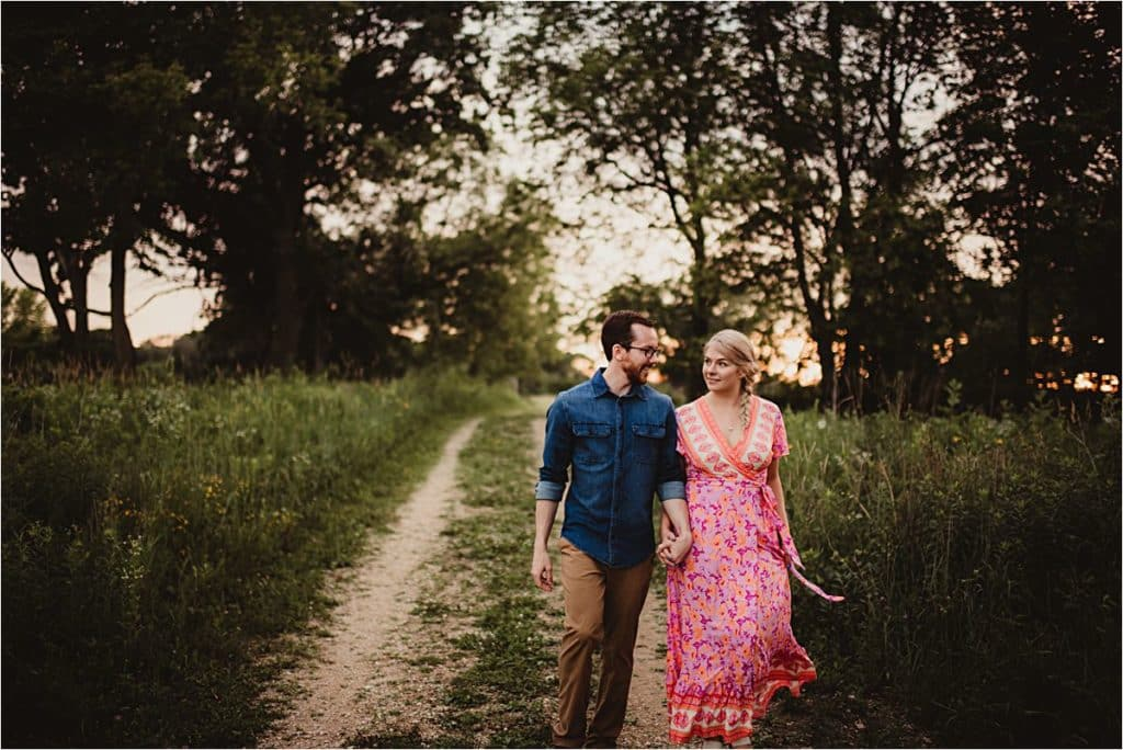 Sunset Engagement Session Couple on Path