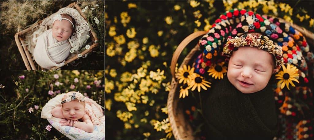 Summer Outdoor Newborn Session Collage Newborn in Flowers