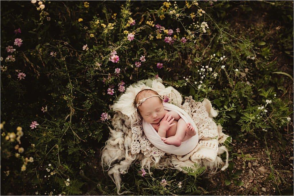 Newborn Girl in Pink Flowers