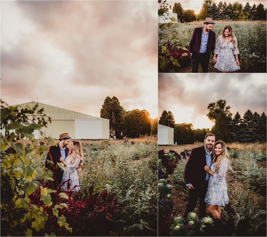 Couple in Flowers at Sunset