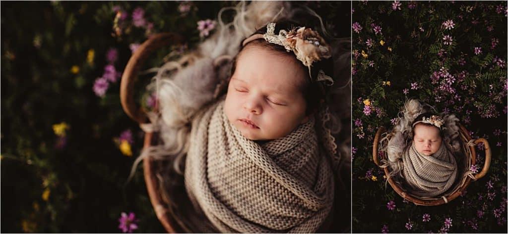 Newborn with Purple Flowers